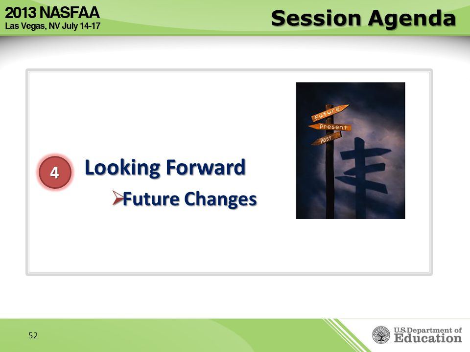 Session Agenda Looking Forward Future Changes 4