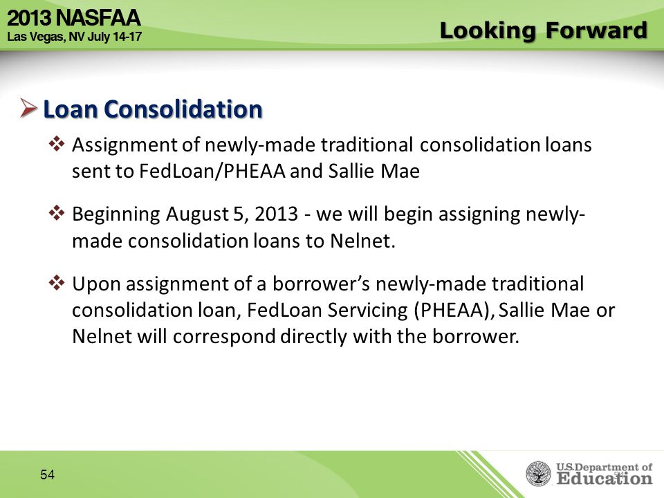 Loan Consolidation Looking Forward