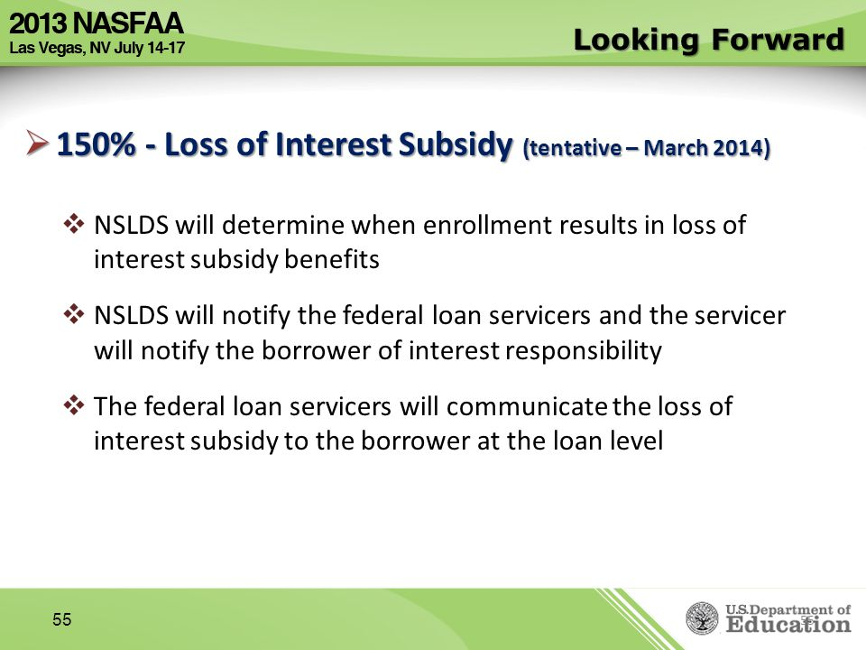 150% - Loss of Interest Subsidy (tentative – March 2014)