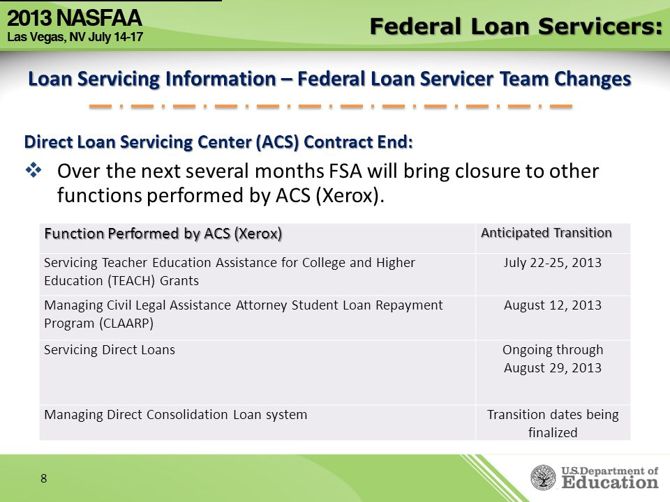 Loan Servicing Information – Federal Loan Servicer Team Changes