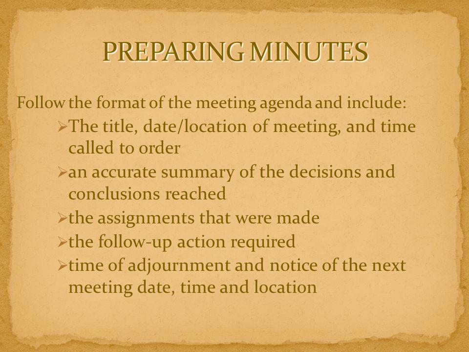 CONDUCTING AN EFFICIENT MEETING ppt download – Preparing Meeting Agenda