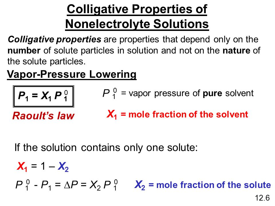 the nature and poperties of solution Explain how the following properties of solutions differ from those of the pure solvent: vapor pressure, boiling point, freezing point, and osmotic pressure answers colligative properties are characteristics that a solution has that depend on the number, not the identity, of solute particles.