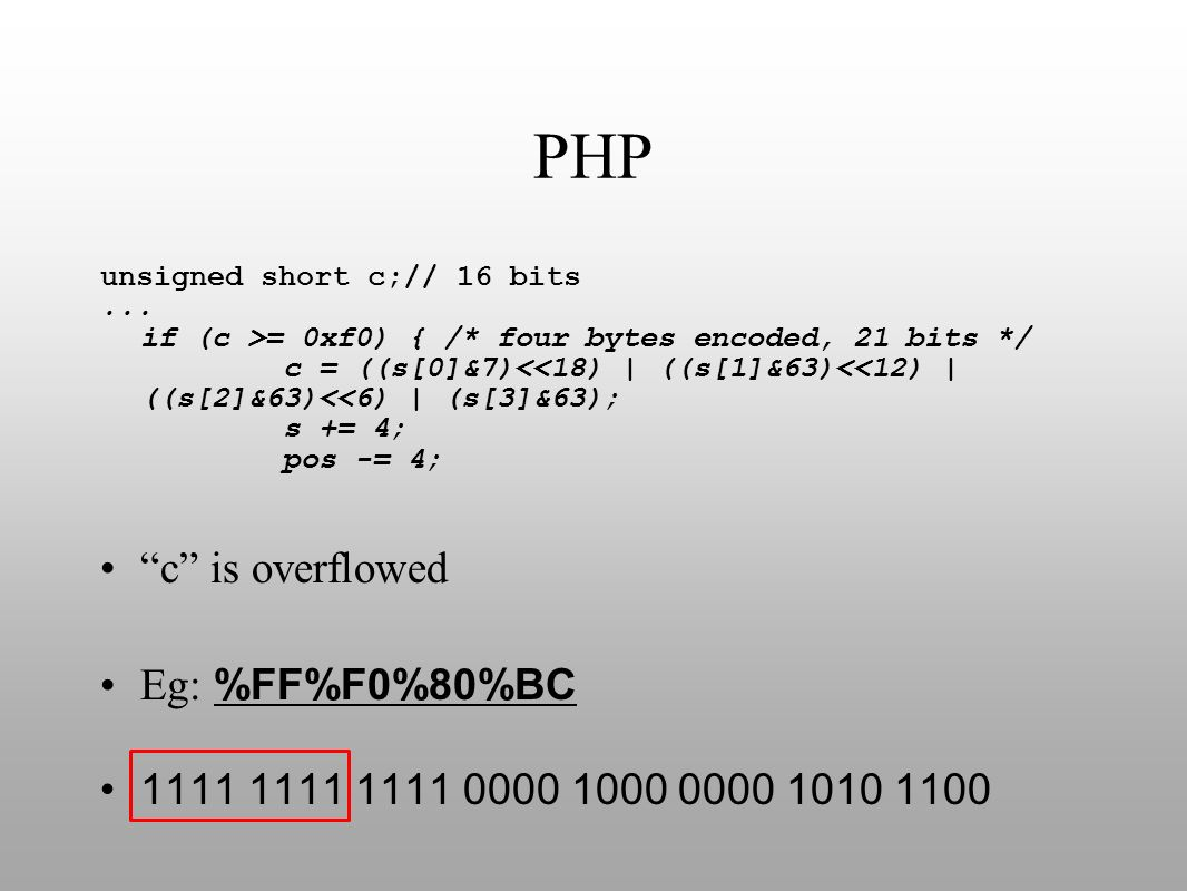 PHP c is overflowed Eg: %FF%F0%80%BC