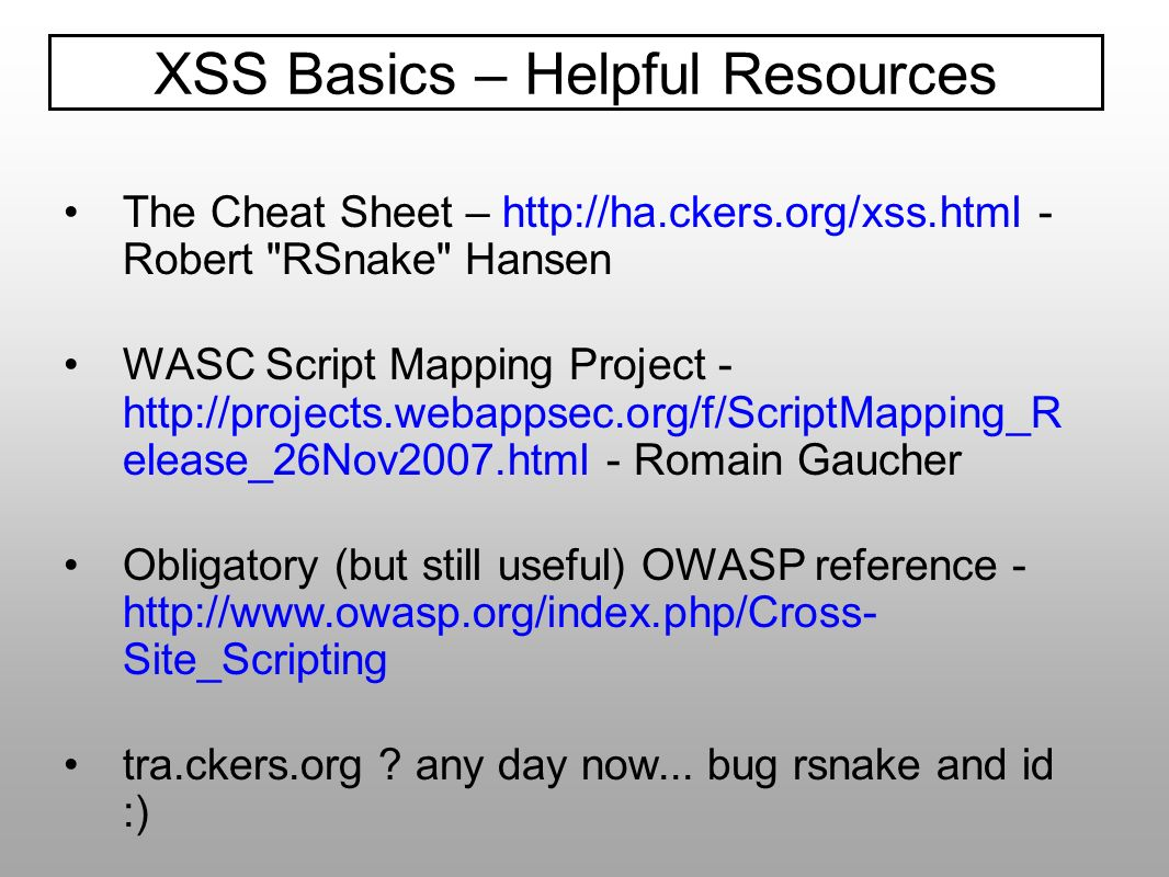 XSS Basics – Helpful Resources