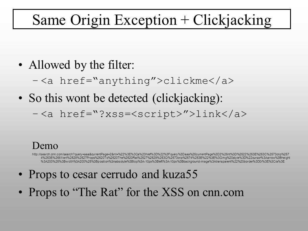 Same Origin Exception + Clickjacking