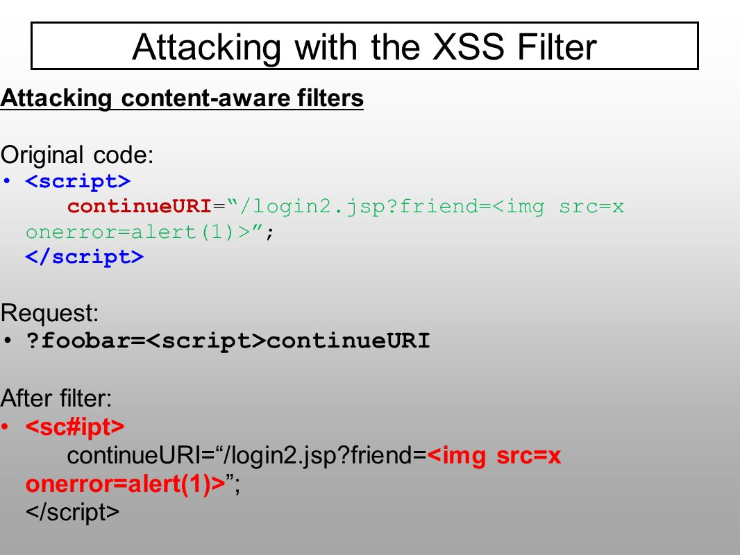 Attacking with the XSS Filter