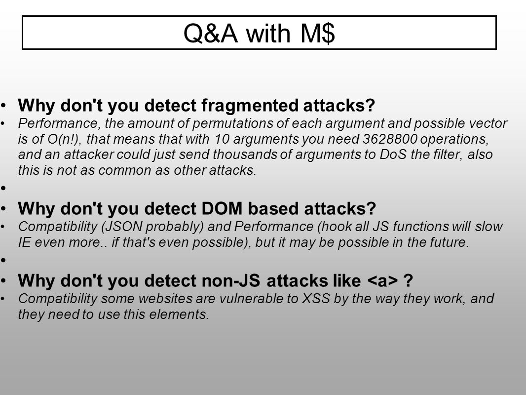 Q&A with M$ Why don t you detect fragmented attacks