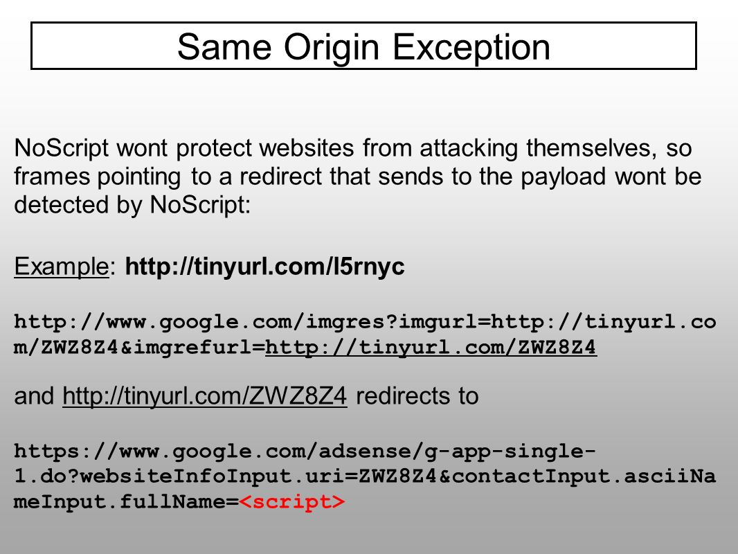 Same Origin Exception