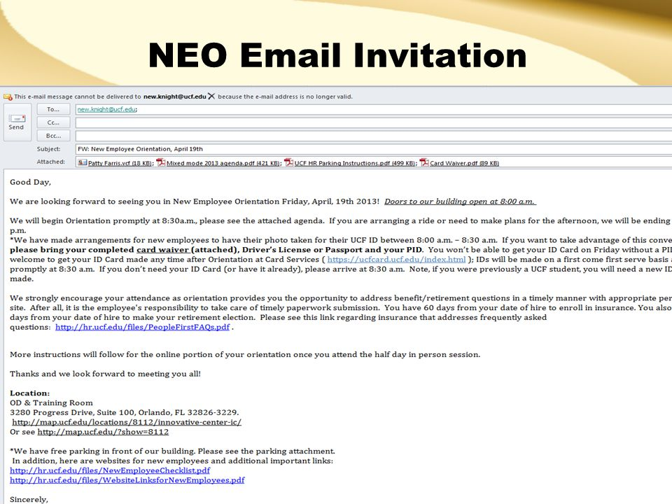 New Employee Orientation Invitation Email Chatterzoom
