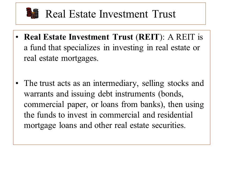 Real Estate Reit : Intermediary and international debt securities ppt download