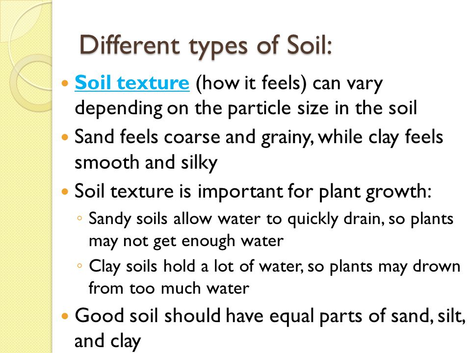 The nature of soil essential question ppt video online for Different type of water