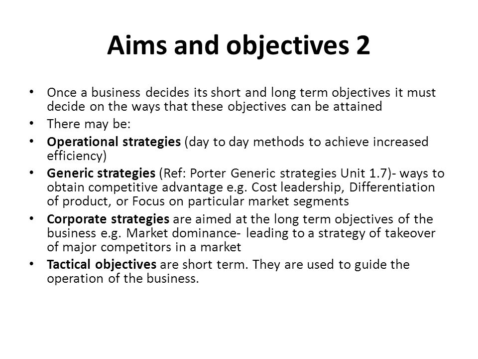 short term objectives Examples of short term business and marketing goals and how to achieve them through various marketing strategies.