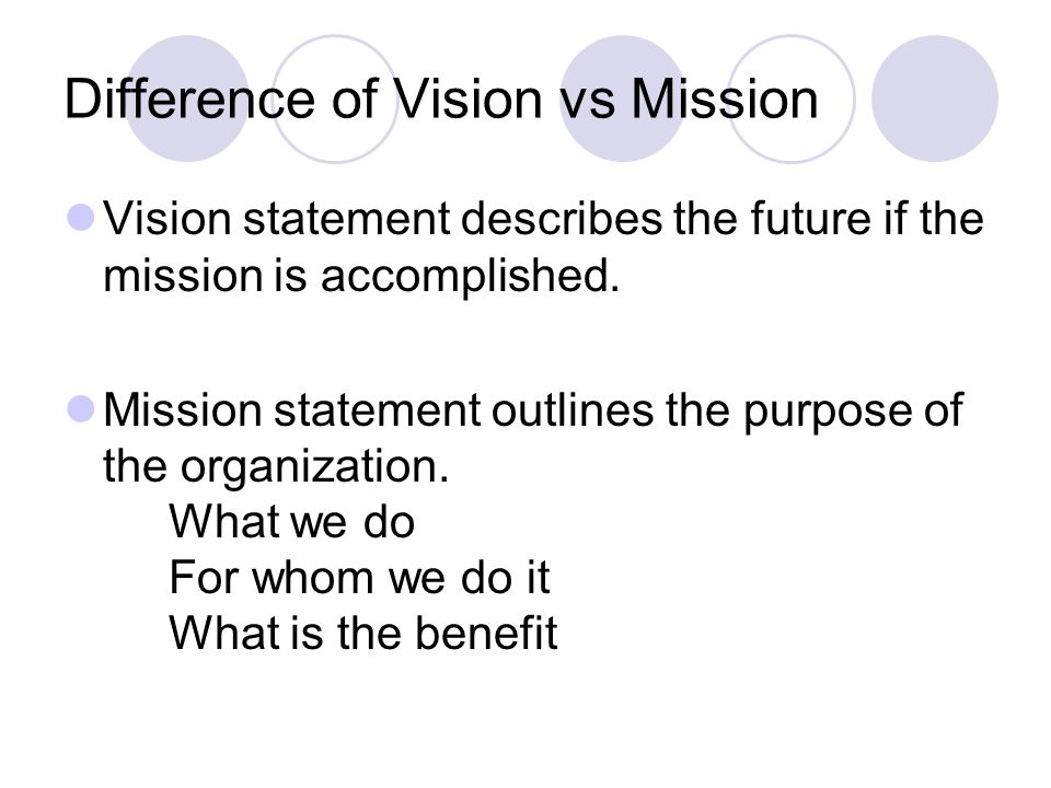 compare and contrast vision statement with mission statement We included 100+ of the world's best vision statements in what are some great vision statements how can you compare and contrast a vision and a mission.