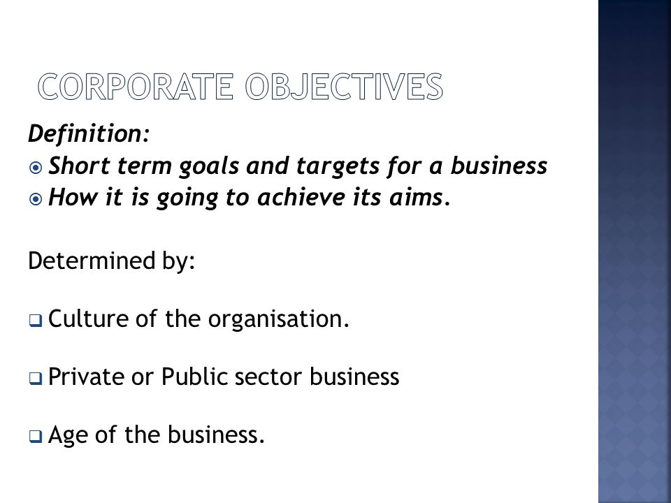 Corporate Objectives Definition: