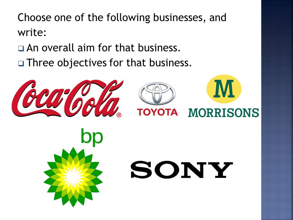 Choose one of the following businesses, and
