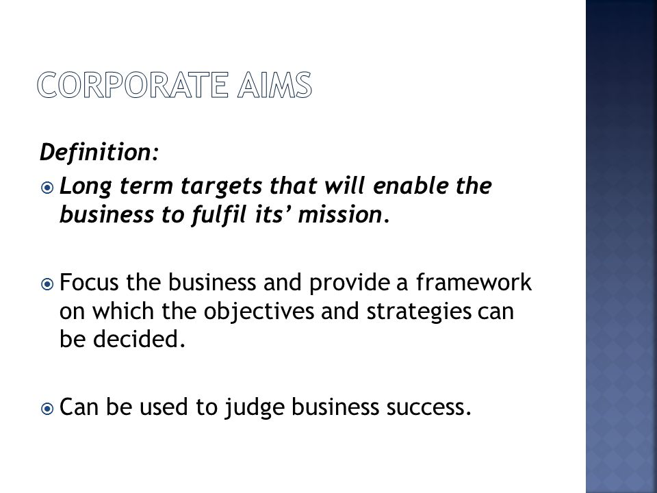 Corporate Aims Definition:
