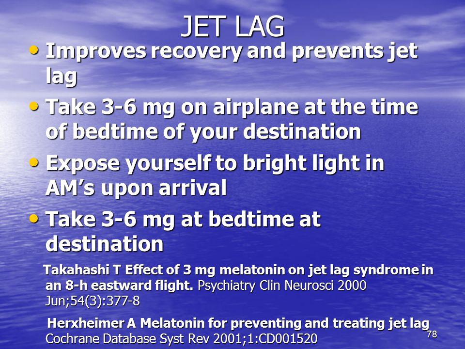 Melatonin doses for jet lag