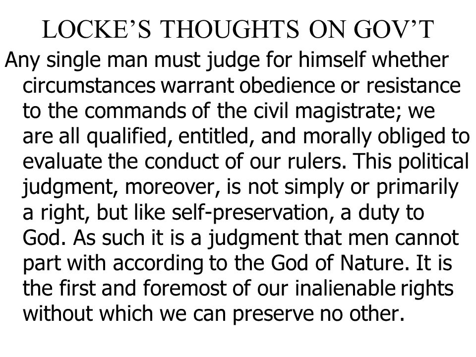 LOCKE'S THOUGHTS ON GOV'T