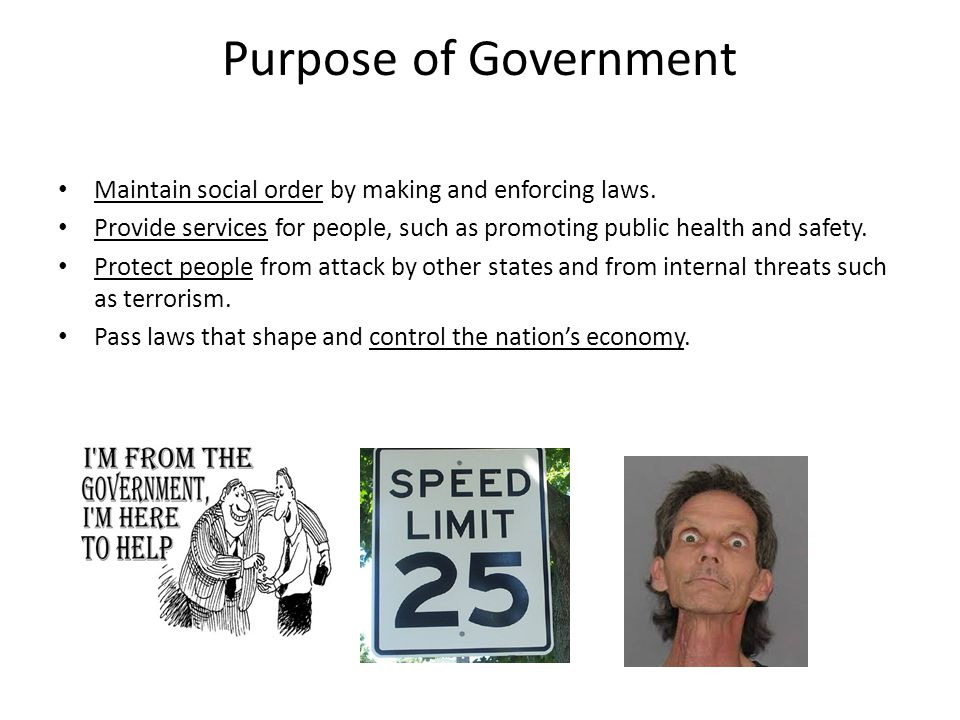 Purpose of Government Maintain social order by making and enforcing laws. Provide services for people, such as promoting public health and safety.