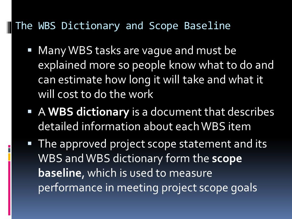 what is wbs dictionary in project management