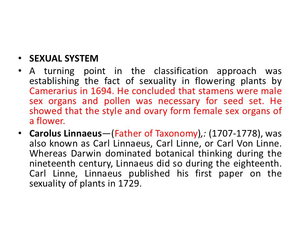 Sexual System Of Classification