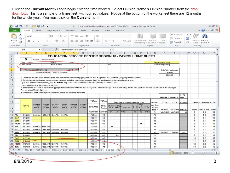 Education Service Center Payroll Time Sheet Instruction