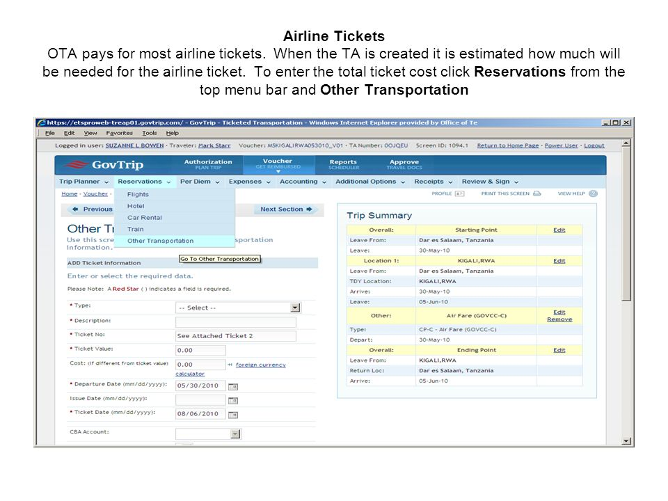 Airline Tickets OTA pays for most airline tickets