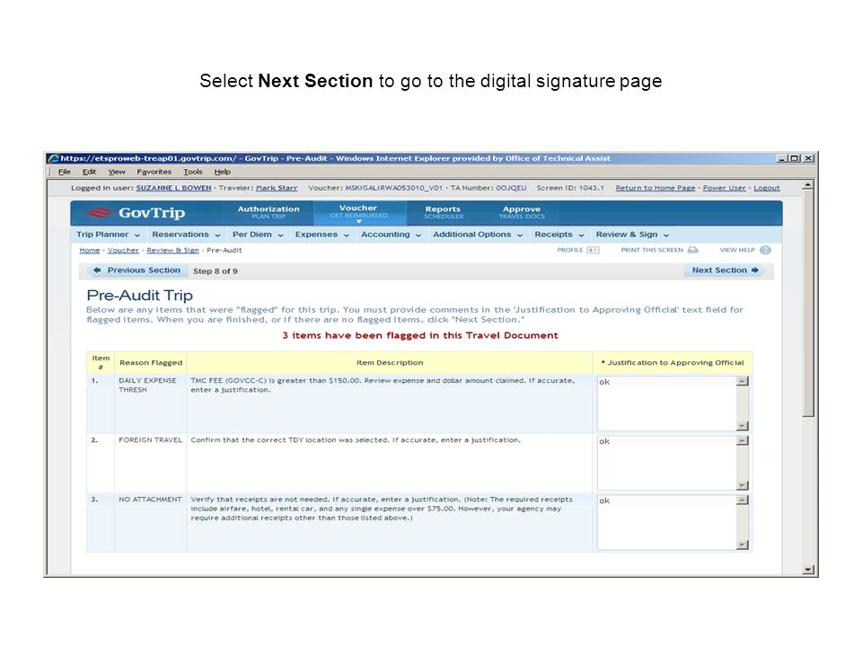 Select Next Section to go to the digital signature page