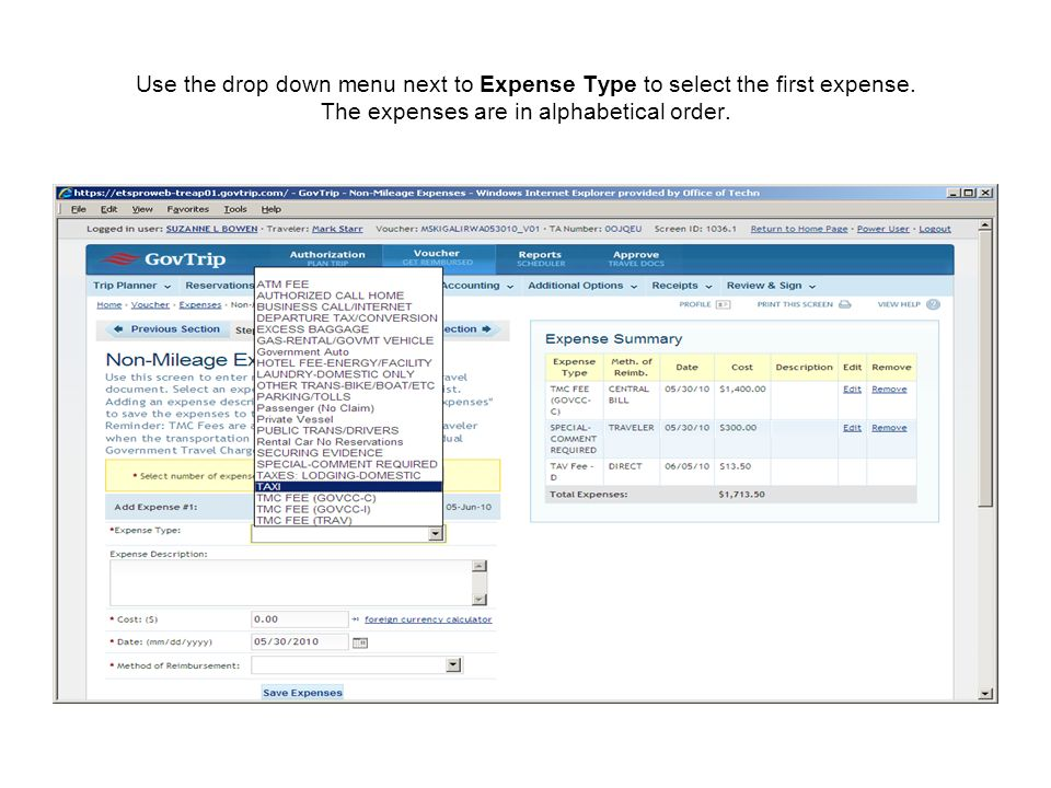 Use the drop down menu next to Expense Type to select the first expense.