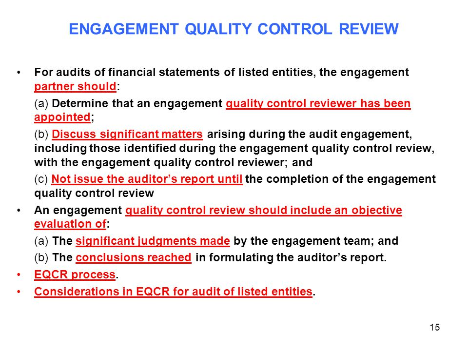 ENGAGEMENT QUALITY CONTROL REVIEW