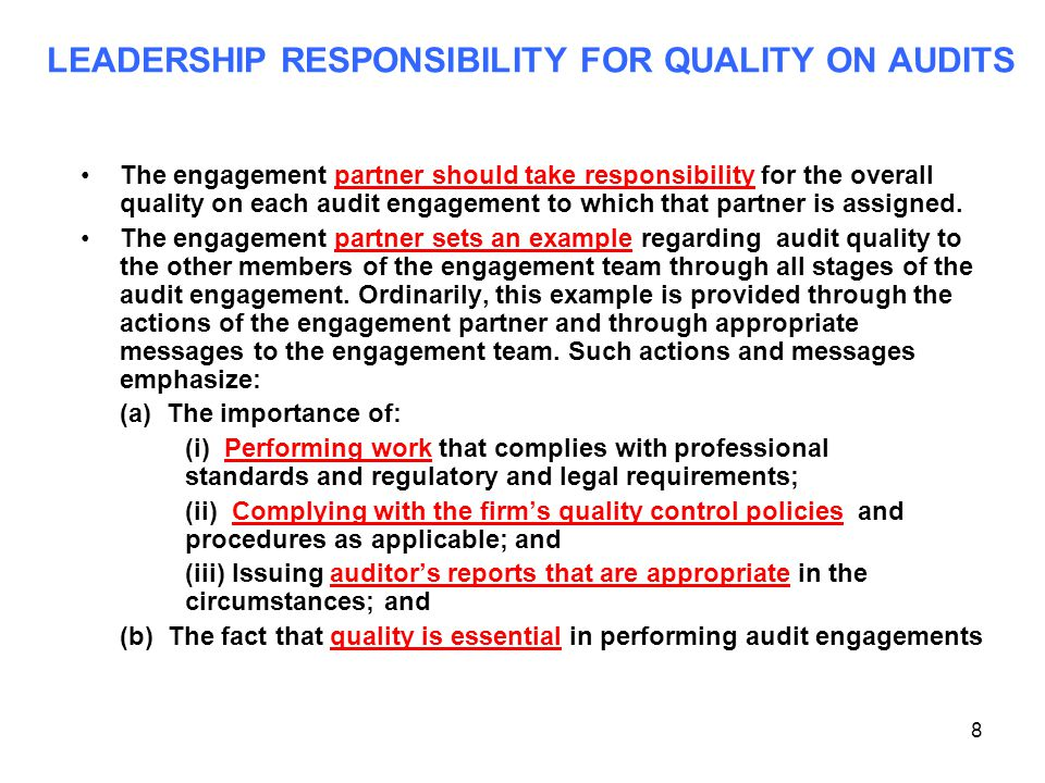LEADERSHIP RESPONSIBILITY FOR QUALITY ON AUDITS