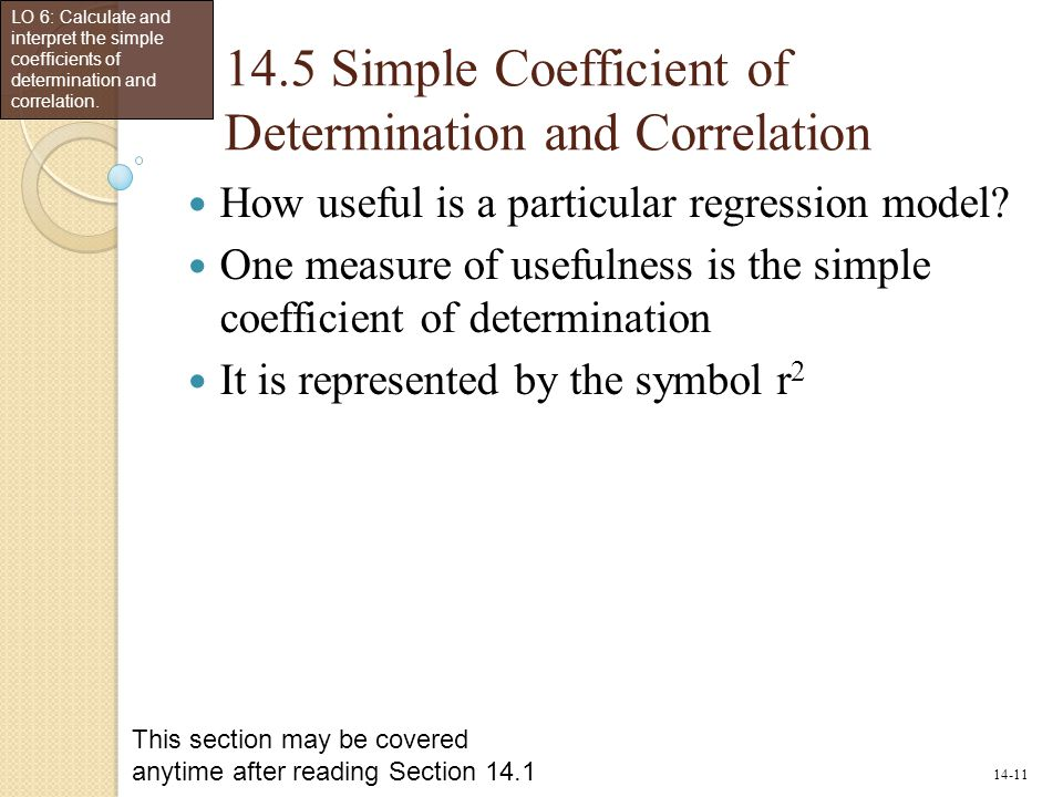 14.5 Simple Coefficient of Determination and Correlation