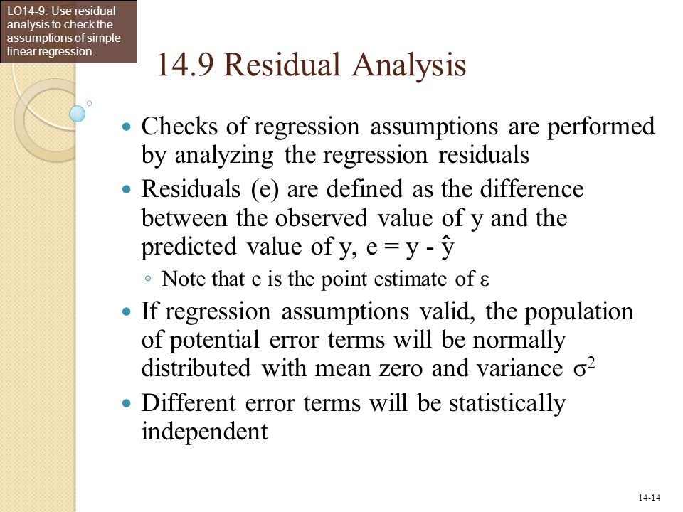 LO14-9: Use residual analysis to check the assumptions of simple linear regression.