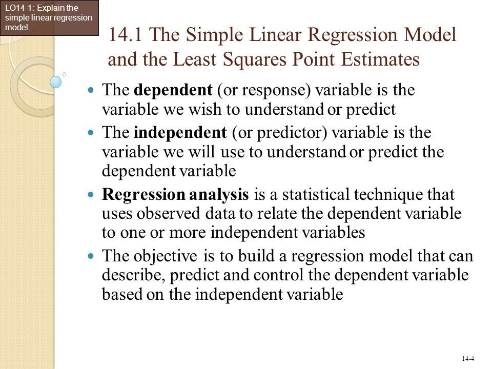 LO14-1: Explain the simple linear regression