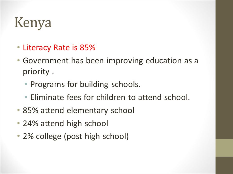 Kenya Literacy Rate is 85%