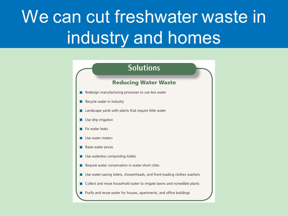We can cut freshwater waste in industry and homes