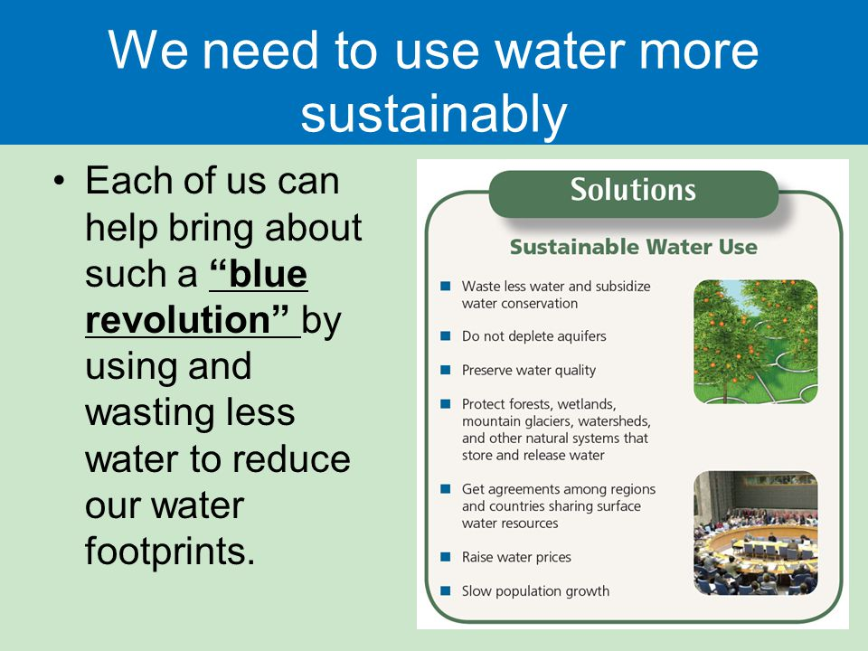 We need to use water more sustainably