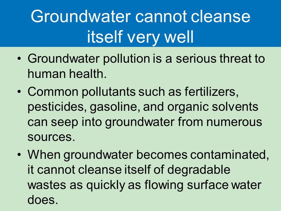 Groundwater cannot cleanse itself very well