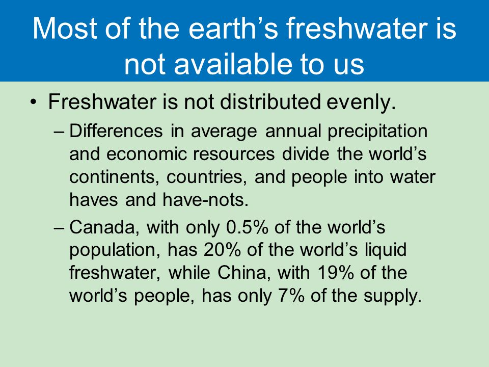 Most of the earth's freshwater is not available to us