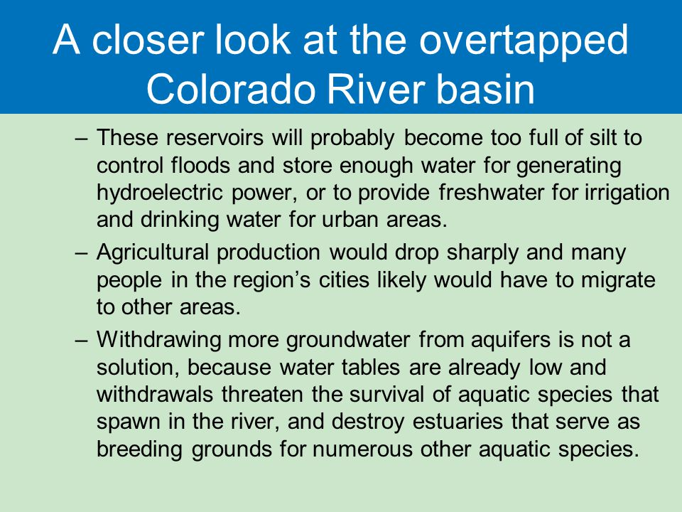 A closer look at the overtapped Colorado River basin