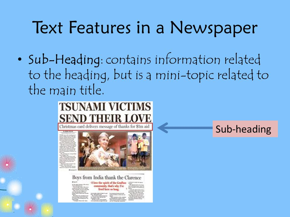 how to write a subheading in a newspaper