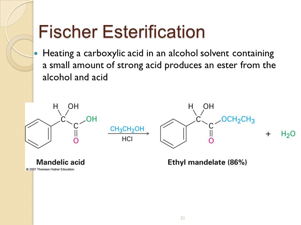 fischer esterification Synthesis of esters using acetic anhydride1  this reaction, termed  fischer esterification in honor of its discoverer, can be used to prepare a.