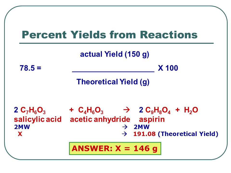 Worked Example of Percentage Yield Calculations: Calculating Percentage Yield