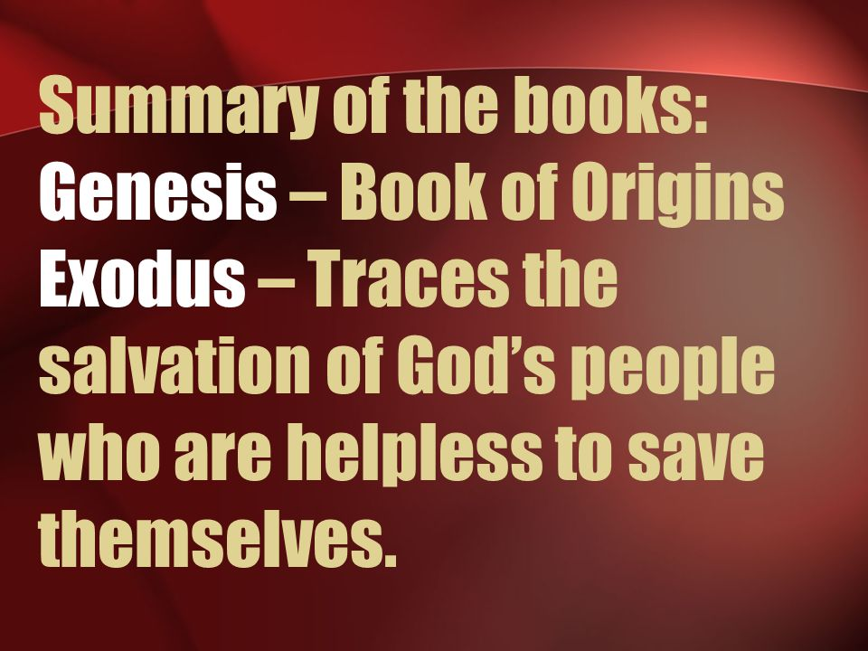 summary on the book of genesis The book of genesis, the first of the five books of the torah, chronicles the lives of the founding fathers and mothers of humanity in general and of the jewish nation in particular: adam and eve, noah, abraham, isaac, and jacob sarah, rebecca, rachel, and leah joseph and his brothers more than.
