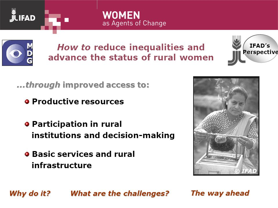How to reduce inequalities and advance the status of rural women