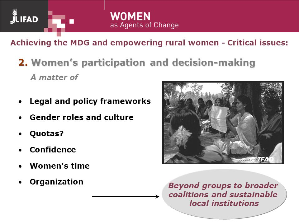 2. Women's participation and decision-making A matter of
