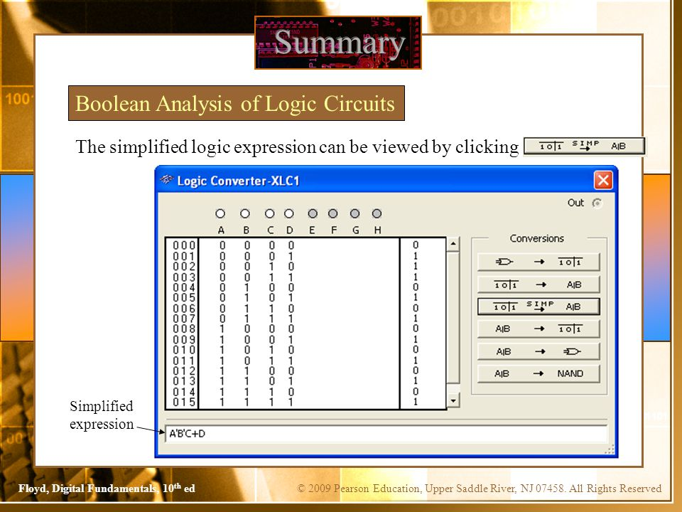 Summary Boolean Analysis of Logic Circuits