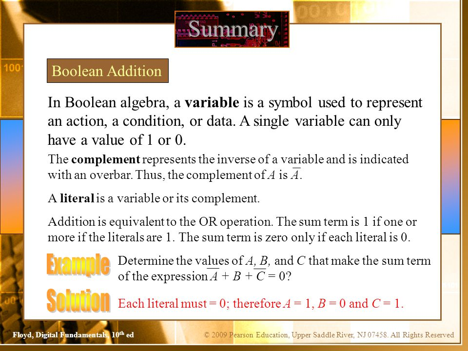 Summary Example Solution Boolean Addition