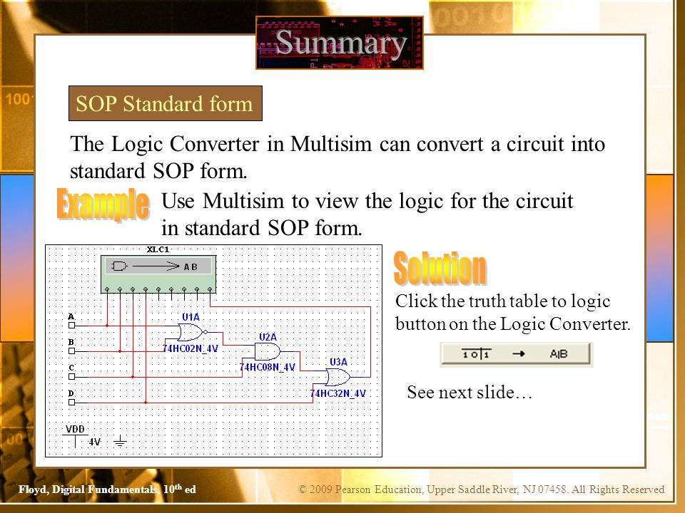 Summary Example Solution SOP Standard form
