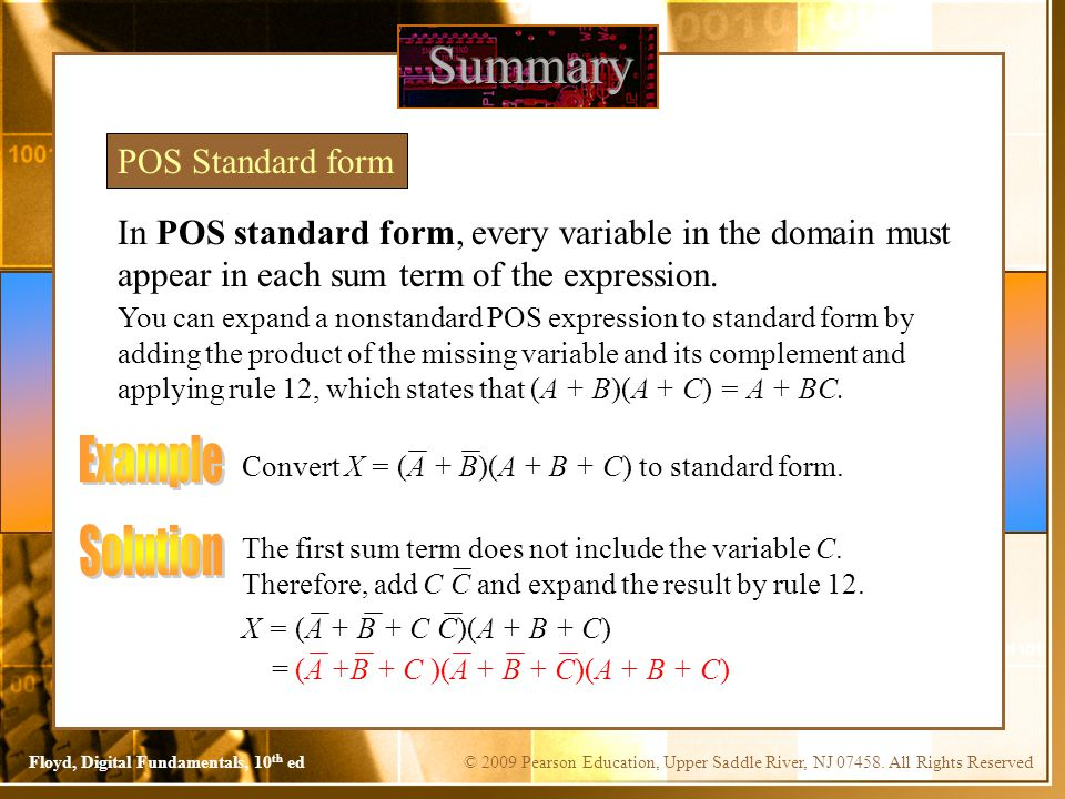 Summary Example Solution POS Standard form